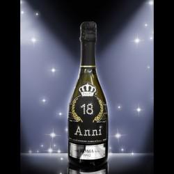 Bottiglia di prosecco per brindisi di compleanno con Swarovski argento 0,75 litri