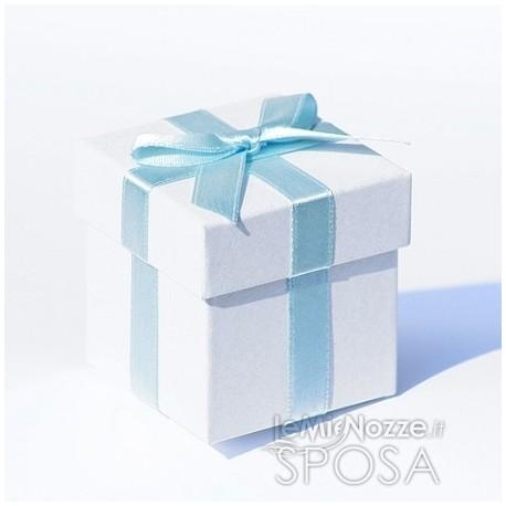 Bomboniera Matrimonio Azzurro : 6 scatole per bomboniere con nastro azzurro