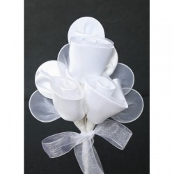 Bomboniera tris di rose portaconfetti bianco 12 pezzi