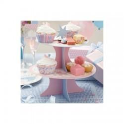 Alzata per dolci in cartone rosa e azzurro