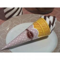 Asciugamano a forma di cono gelato vaniglia e cioccolato