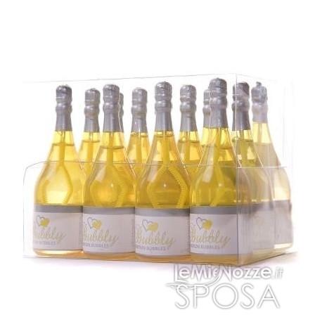 Bolle di sapone a bottiglia di champagne gialla