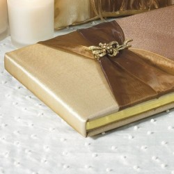 Guestbook color bronzo in raso e organza