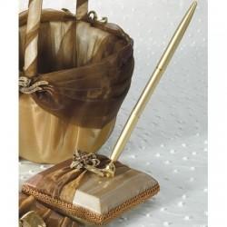 Penna per guest book in raso e organza bronzo
