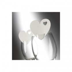 Segnaposto da bicchiere a forma di cuore avorio 10 pezzi