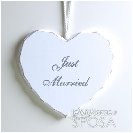 Cuore in legno bianco Just Married