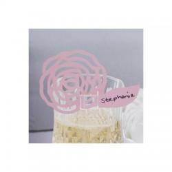 Segnaposto da bicchiere a forma di fiore rosa 10 pezzi