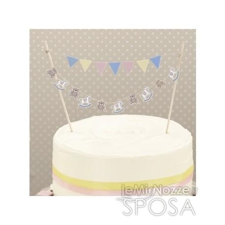 Cake topper con cavallucci e orsacchiotti 2 pezzi