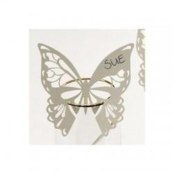 Segnaposto da bicchiere farfalla avorio 10 pezzi