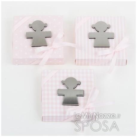 Magnete in metallo a forma di bimba 5 confetti - 3 pezzi