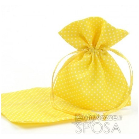 Sacchetti portaconfetti a pois gialli