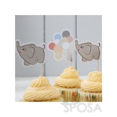 Bandierine per dolci con elefantino 10 pezzi