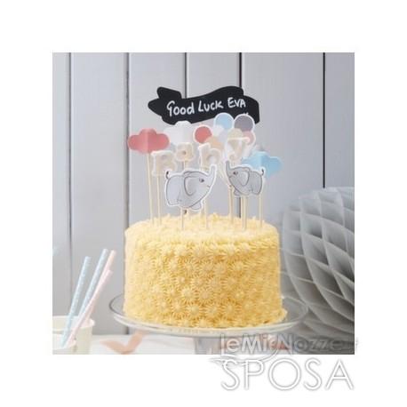 Cake topper con elefantino 11 pezzi