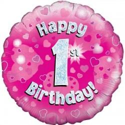 Palloncino happy birthday rosa