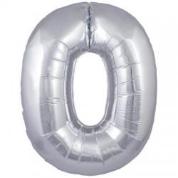 Palloncino argento numero zero