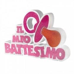 """Scritta rosa in polistirolo """"Il Mio Battesimo"""""""