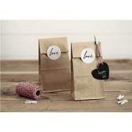 Sacchettini di carta con adesivo love - 6 pezzi