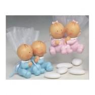 Coppia di gemellini in resina con sacchettino e confetti