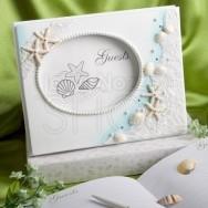 Guestbook con perle e cornice tema mare