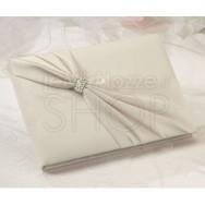 Guestbook elegance ivory strass in tessuto satinato