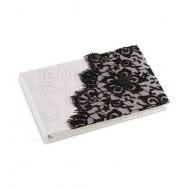 Guestbook con merletto nero e perline