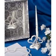 Penna per guestbook con cuori e strass