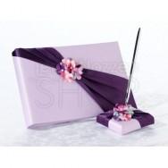Set guestbook e penna di colore lilla con strass