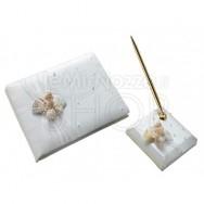 Set guestbook e penna con conchiglie e perle