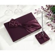 Set guestbook con penna e fiocco di colore prugna