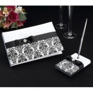 Set guestbook con penna in raso nero damascato