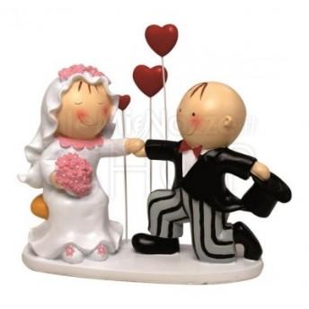 Cake topper sposi con 3 cuori