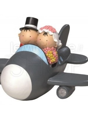 Cake topper salvadanaio sposi in aereo