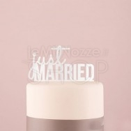 """Cake Topper """"Just Married"""" bianco"""