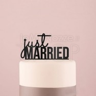 """Cake Topper """"Just Married"""" nero"""
