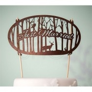 Cake topper in legno con scritta Just Married