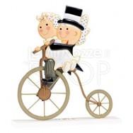 Cake topper sposi in bici antica