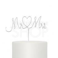 Cake topper scritta Mr & Mrs metallo argento