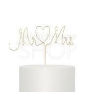 Cake topper scritta Mr & Mrs metallo oro