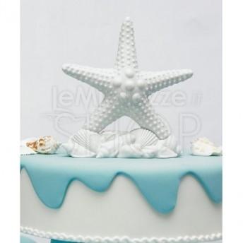 Cake topper a forma di stella marina bianca