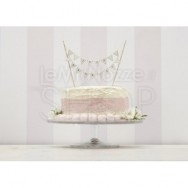 Cake topper festone Just Married avorio