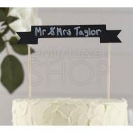 Cake topper festone a forma di lavagna