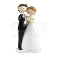 Cake topper sposi abbracciati con brindisi