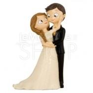 Cake topper sposi abbracciati con carezza