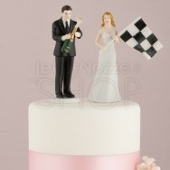Cake topper sposi con bandiera foto finish