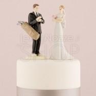Cake topper sposi con sacca da golf