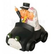 Cake topper salvadanaio sposi in auto