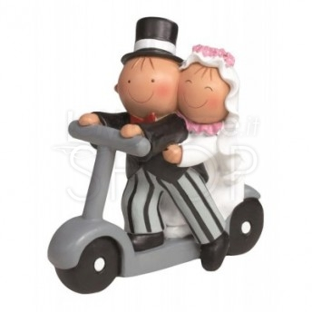 Cake topper sposi in monopattino