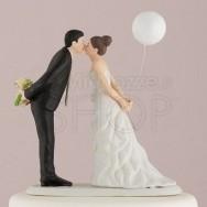 Cake topper bacio sposi con palloncino