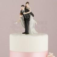 Cake topper sposi con il pallone da rugby