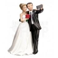 Cake topper sposi con selfie